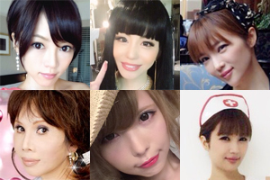 左上・:釈由美子/左下:/中央上:森崎友紀/中央下:益若つばさ/右上下:森下悠里/全て各オフィシャルブログより