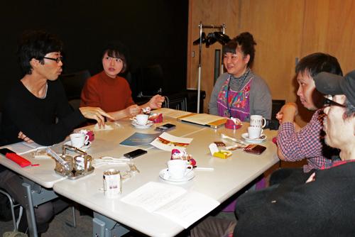 写真左から、田中/吉田/林/濱口監督/松村