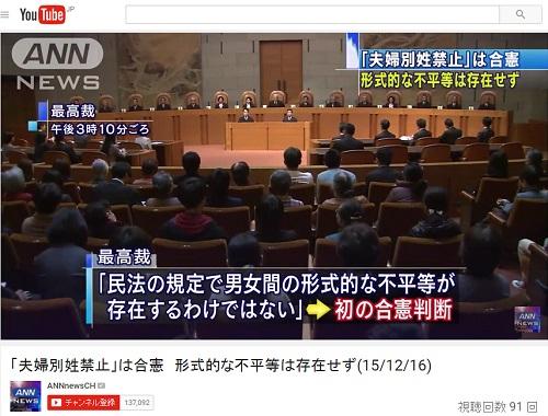 16日に合憲判決が出た夫婦別姓禁止にかんする最高裁の様子(YouTube「ANNnewsCH」より)