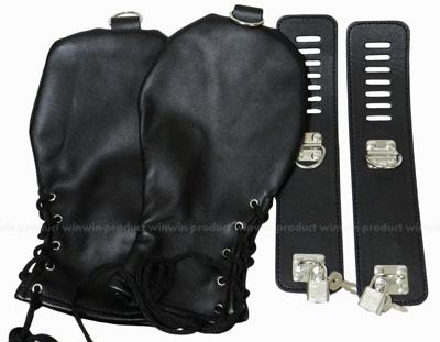 なりきりドッグ マスク or グローブ レザーフード 手袋 目かくし (グローブ黒色)