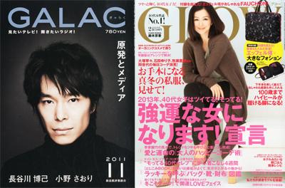 左:『GALAC 2011年 11月号』角川グループパブリッシング/右:『GLOW 2013年 02月号』宝島社