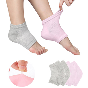 「Phoebe かかと 靴下 ソックス レディース メンズ 靴下 つるつる 靴下 フットケア かかとケア ひび 角質ケア 保湿 角質除去 2色組(ピンク+グレー) フリーサイズ」 出典:amazon